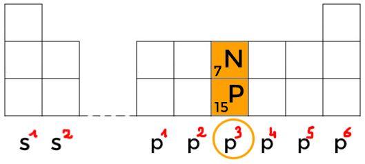 tableau periodique azote et phosphore